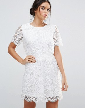 photo Lace Overlay Short Sleeve Dress by Amy Lynn, color White - Image 2