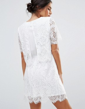 photo Lace Overlay Short Sleeve Dress by Amy Lynn, color White - Image 1