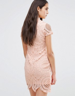 photo Short Sleeve Lace Pencil Dress by Girl In Mind, color Pink - Image 2