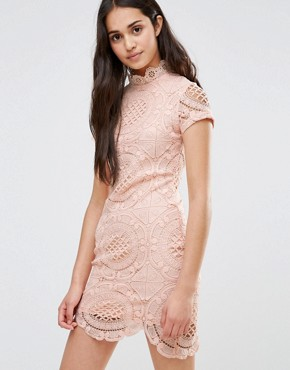 photo Short Sleeve Lace Pencil Dress by Girl In Mind, color Pink - Image 1