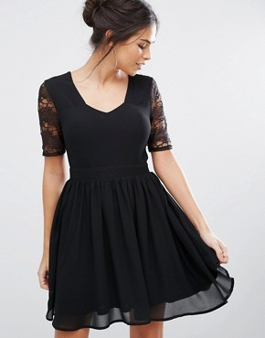 photo Short Lace Skater Dress with Open Back by Amy Lynn, color Black - Image 2