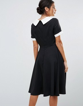 photo Skater Dress With Contrast Collar by Amy Lynn, color Black - Image 2