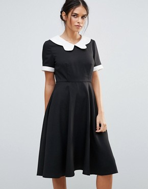 photo Skater Dress with Contrast Collar by Amy Lynn, color Black - Image 1
