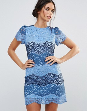 photo Short Sleeve Lace Dress In Colourblock by Amy Lynn, color Blue - Image 1