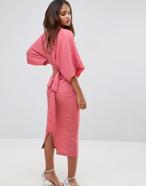 photo Kimono Plunge Midi Dress by ASOS TALL, color Nude - Image 2