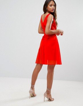 photo Side Cut Out Mini Dress with Tie Back Detail by ASOS TALL, color Orange - Image 2
