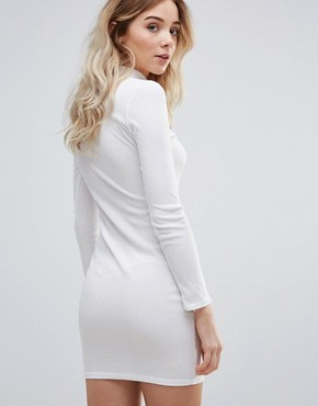photo Keyhole Bodycon Dress With Choker Neckline by Daisy Street, color White - Image 2