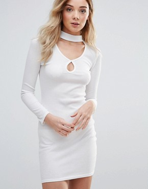 photo Keyhole Bodycon Dress With Choker Neckline by Daisy Street, color White - Image 1