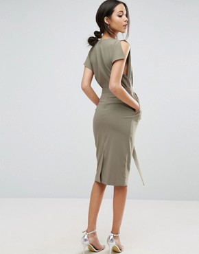 photo Belted Midi Dress with Split Cap Sleeve and Pencil Skirt by ASOS, color Khaki - Image 2