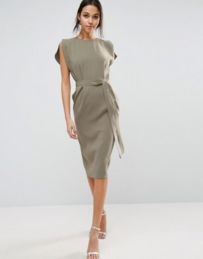 photo Belted Midi Dress with Split Cap Sleeve and Pencil Skirt by ASOS, color Khaki - Image 1