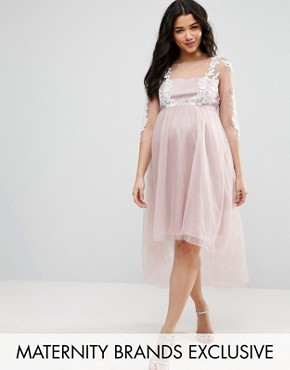 photo Lace Embroidered Mesh Overlay Dress with Dip Hem by Chi Chi London Maternity, color Mink - Image 1