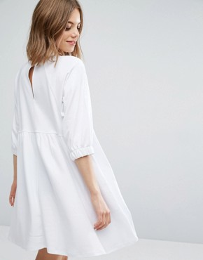 photo Cotton Smock Dress with Elastic Cuff Detail by ASOS, color White - Image 2