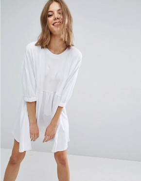 photo Cotton Smock Dress with Elastic Cuff Detail by ASOS, color White - Image 1