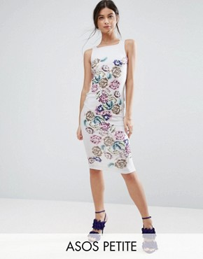 photo Placed Floral Strappy Back Pinny Midi Bodycon Dress by ASOS PETITE, color  - Image 1