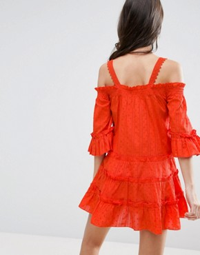 photo Dobby Spot Tiered Cold Shoulder Sundress by ASOS PETITE, color Orange - Image 2