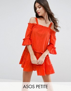 photo Dobby Spot Tiered Cold Shoulder Sundress by ASOS PETITE, color Orange - Image 1