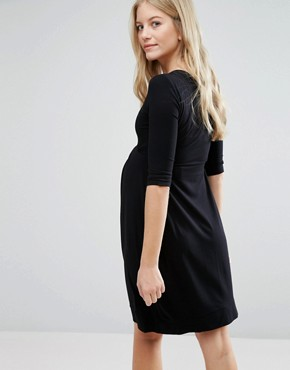 photo Pleat Front Skater Dress by Isabella Oliver, color Black - Image 2