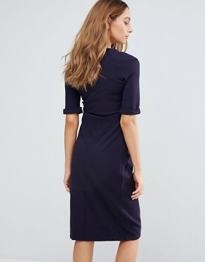 photo Short Sleeve Dress with Button Detail by Isabella Oliver, color Navy - Image 2