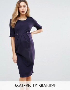 photo Short Sleeve Dress with Button Detail by Isabella Oliver, color Navy - Image 1
