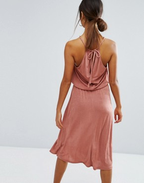 photo Ruched Halter Midi Dress with Spliced Detail by ASOS, color Dusty Pink - Image 2