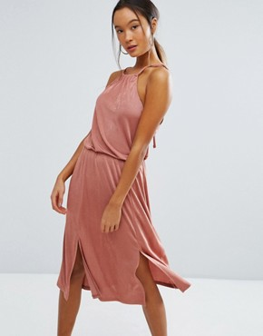 photo Ruched Halter Midi Dress with Spliced Detail by ASOS, color Dusty Pink - Image 1