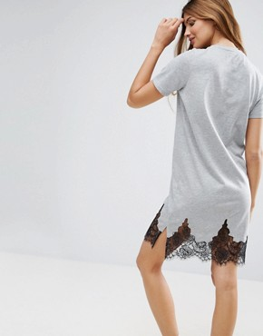 photo T-Shirt Dress with Lace Inserts by ASOS, color Grey Marl - Image 2