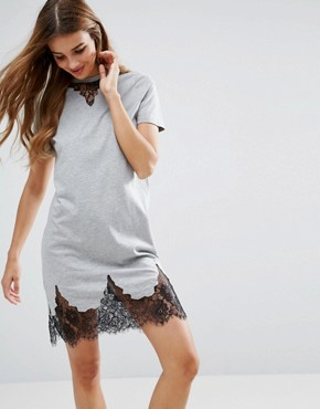 photo T-Shirt Dress with Lace Inserts by ASOS, color Grey Marl - Image 1