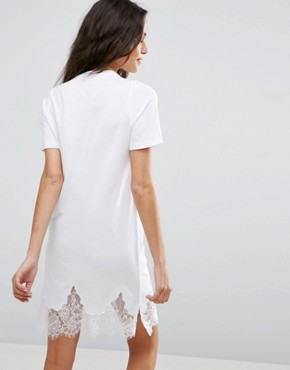 photo T-Shirt Dress with Lace Inserts by ASOS, color White - Image 2