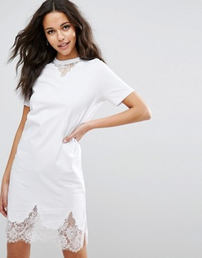 photo T-Shirt Dress with Lace Inserts by ASOS, color White - Image 1