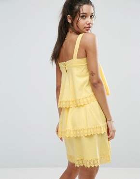 photo Tiered Lace Detail Sundress by ASOS, color Lemon Yellow - Image 2
