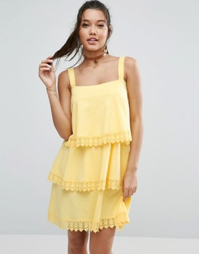 photo Tiered Lace Detail Sundress by ASOS, color Lemon Yellow - Image 1