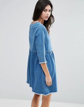 photo Denim Smock Dress In Midwash Blue by ASOS TALL, color Mid Wash Blue - Image 2