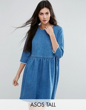 photo Denim Smock Dress In Midwash Blue by ASOS TALL, color Mid Wash Blue - Image 1
