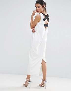 photo Scuba Cross Back City Maxi Dress by ASOS PREMIUM, color White - Image 1