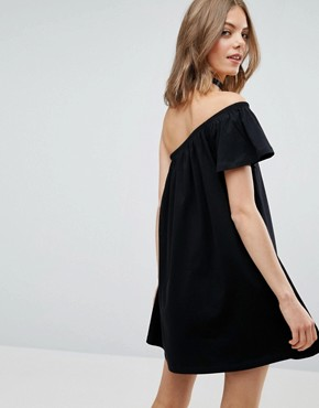 photo One Shoulder Mini Swing Dress by ASOS, color Black - Image 2