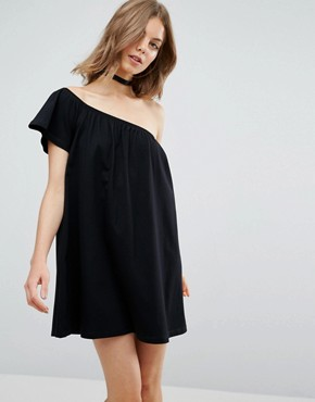 photo One Shoulder Mini Swing Dress by ASOS, color Black - Image 1