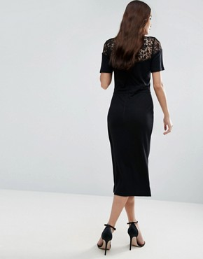 photo Leah Lace Midi Dress by French Connection, color Black - Image 2