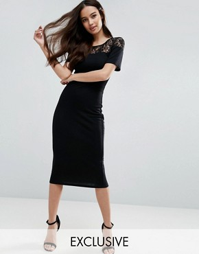 photo Leah Lace Midi Dress by French Connection, color Black - Image 1