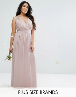 photo Wrap Embellished Maxi Dress by TFNC Plus Wedding, color Blush - Image 1
