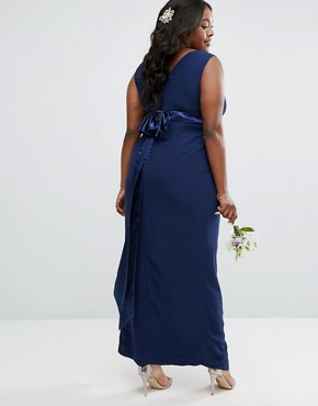 photo Wrap Front Maxi Dress With Wrap Skirt by TFNC Plus Wedding, color Navy - Image 2