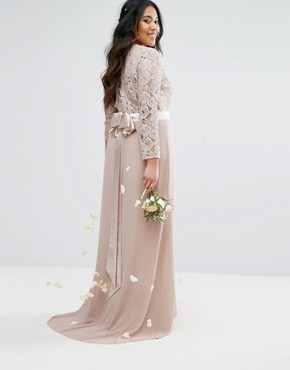 photo Lace Maxi Dress with Bow Back by TFNC Plus Wedding, color Mink - Image 2