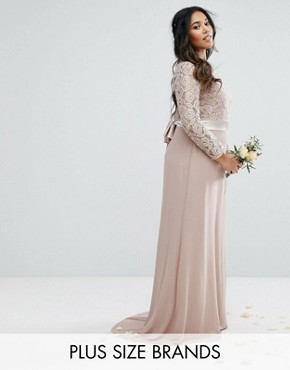 photo Lace Maxi Dress with Bow Back by TFNC Plus Wedding, color Mink - Image 1