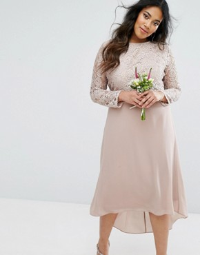 photo Lace Midi Dress with Bow Back by TFNC Plus Wedding, color Mink - Image 2
