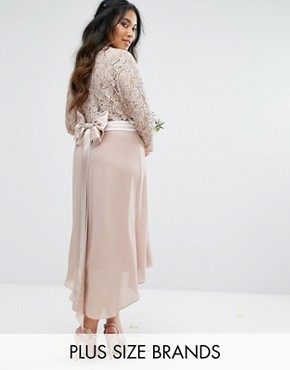 photo Lace Midi Dress with Bow Back by TFNC Plus Wedding, color Mink - Image 1