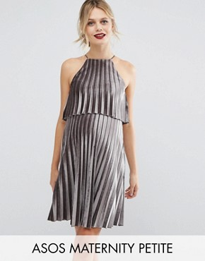 photo Velvet Pleated Crop Top Mini Dress by ASOS Maternity PETITE, color Silver - Image 1