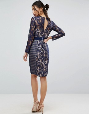 photo Lace And Mesh Pencil Dress by Little Mistress, color Navy - Image 2