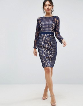 photo Lace And Mesh Pencil Dress by Little Mistress, color Navy - Image 1