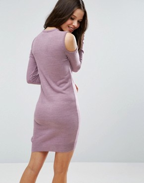 photo Jumper Dress With V Neck And Cold Shoulder by ASOS PETITE, color Dusty Lilac - Image 2