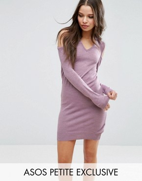 photo Jumper Dress With V Neck And Cold Shoulder by ASOS PETITE, color Dusty Lilac - Image 1