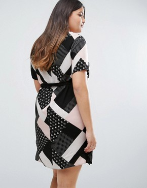 photo Graphic Print Belted Tunic Dress by New Look Plus, color Pink Pattern - Image 2